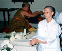 Yol Swan being inititiated as a Buddhist nun by Ajhan Tong Sirimangalo